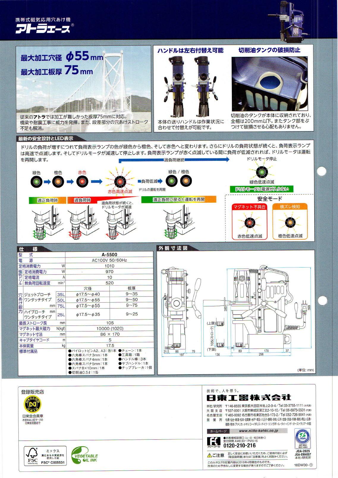 日東工器 NITTO KOHKI 携帯式磁気応用穴あけ機 アトラエース A-5500
