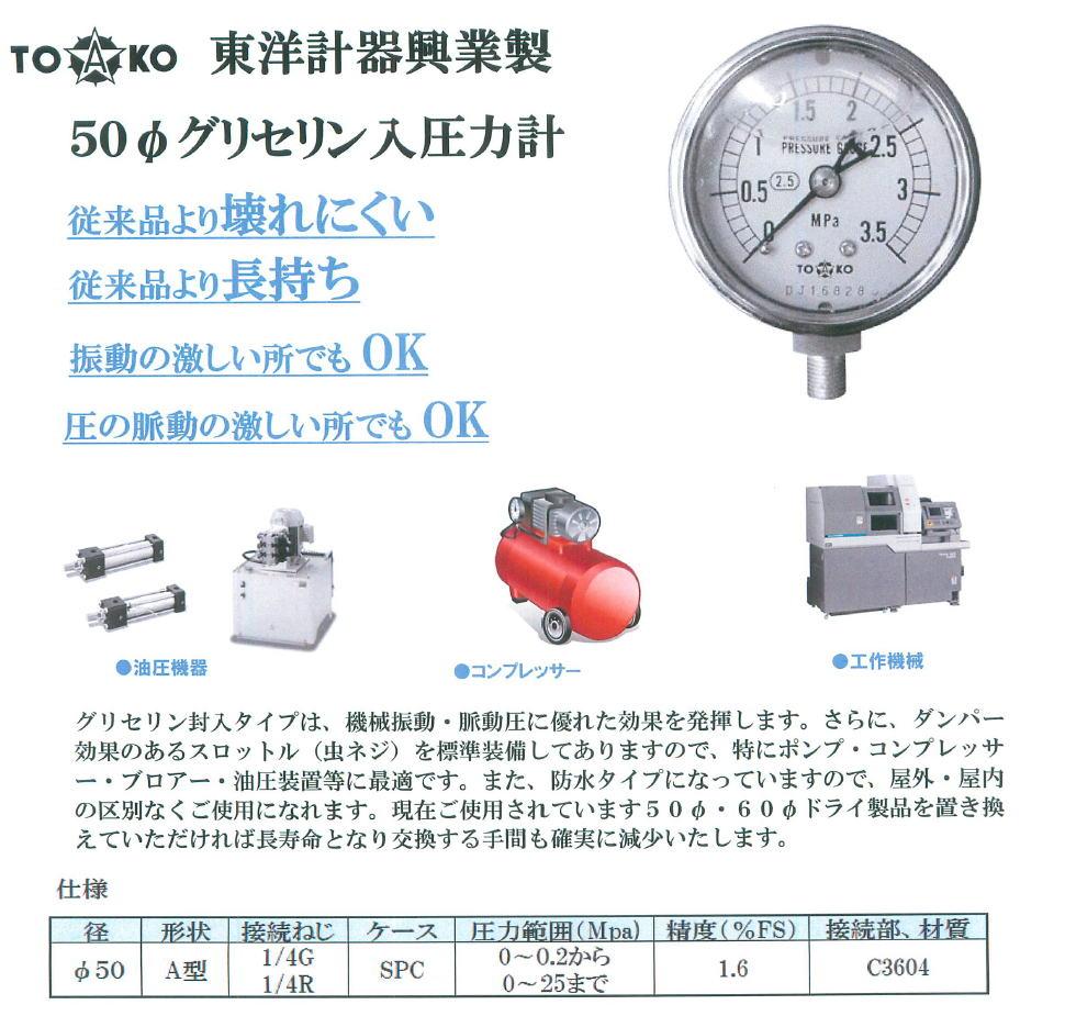 東洋計器興業 50ファイ グリセンリン入圧力計