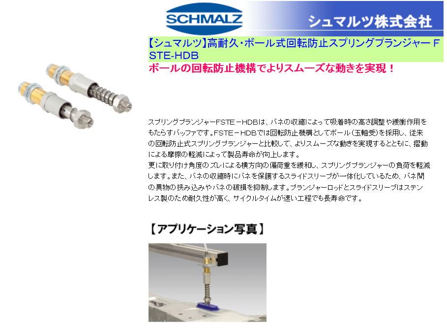 【シュマルツ】高耐久・ボール式回転防止スプリングプランジャー FSTE-HDB ボールの回転防止機構でよりスムーズな動きを実現!