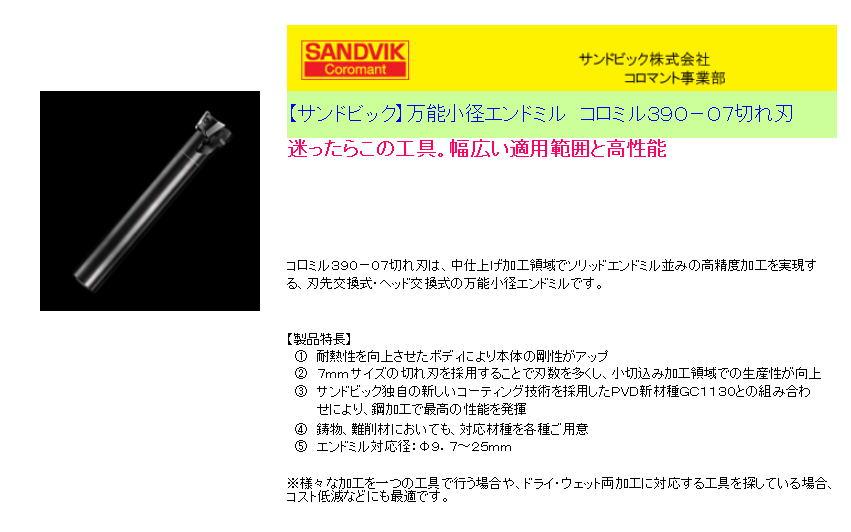 【サンドビック】万能小径エンドミル コロミル390-07切れ刃